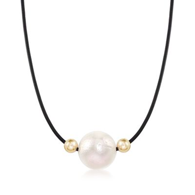 16-17mm Cultured Pearl and 14kt Yellow Gold Bead Necklace with Black Leather Cord, , default
