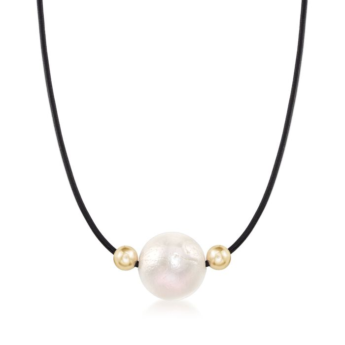 """16-17mm Cultured Pearl and 14kt Yellow Gold Bead Necklace with Black Leather Cord. 18"""", , default"""