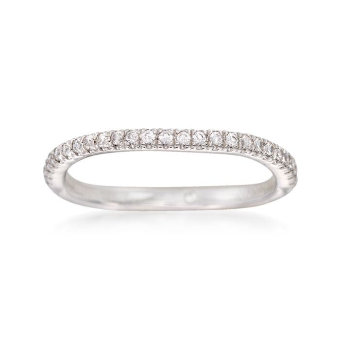 Gabriel Designs .18 ct. t.w. Diamond Curved Wedding Ring in 14kt White Gold