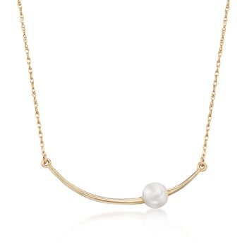 """6mm Cultured Pearl Curved Bar Necklace in 14kt Yellow Gold. 18"""", , default"""