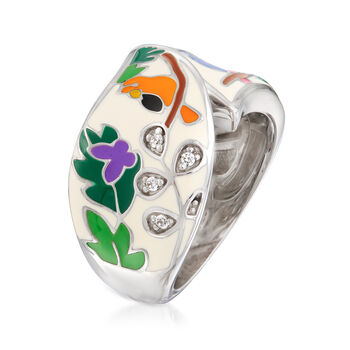"""Belle Etoile """"Tropical Rainforest"""" Ivory and Multicolored Enamel Ring with CZ Accents in Sterling Silver, , default"""