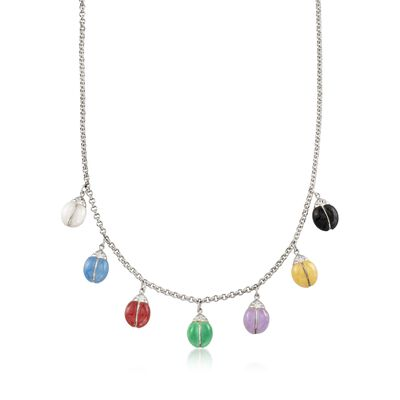 9mm Multicolored Jade Ladybug Necklace in Sterling Silver , , default