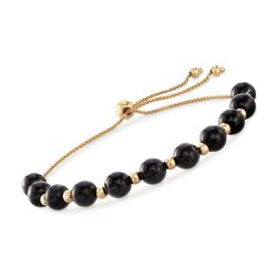 Black Onyx and 14kt Yellow Gold Bead Bolo Bracelet, , default