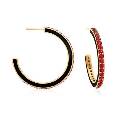 4.20 ct. t.w. Ruby and Black Enamel C-Hoop Earrings in 18kt Gold Over Sterling