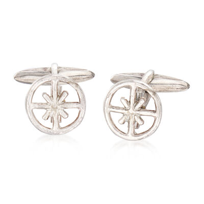 C. 1980 Vintage Buccellati Men's Wheel Cuff Links in Sterling Silver, , default