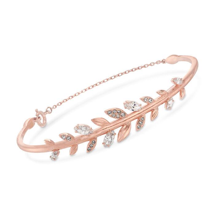 """Swarovski Crystal """"Mayfly"""" Fern Bracelet in Rose Gold-Plated Metal. 7"""", , default"""