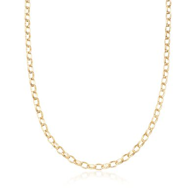 Italian 14kt Yellow Gold Cable-Link Necklace, , default