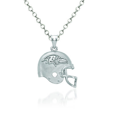 "Sterling Silver Baltimore Ravens Football Helmet Logo Pendant Necklace. 18"", , default"