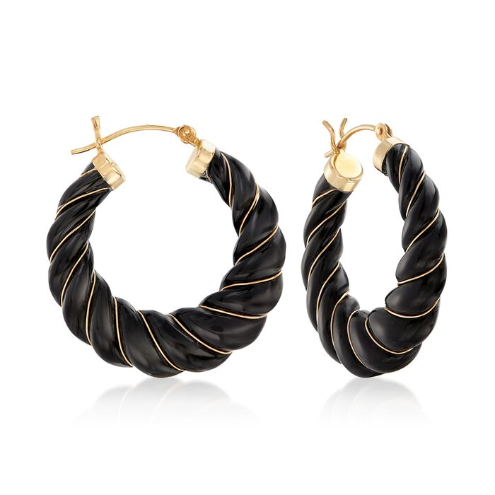 Carved Black Onyx Hoop Earrings with 14kt Yellow Gold. 1 1/8""