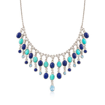 "Lapis and Turquoise Necklace With 3.00 ct. t.w. Blue Topaz in Sterling Silver. 18"", , default"