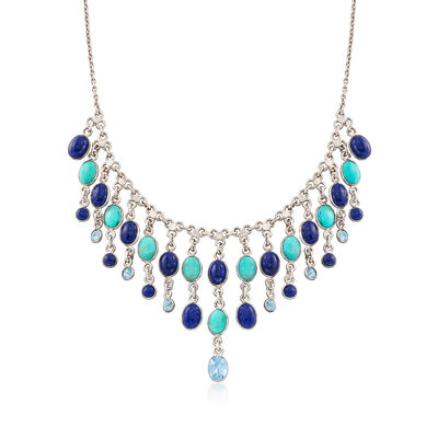 Lapis and Turquoise Necklace With 3.00 ct. t.w. Blue Topaz in Sterling Silver, , default
