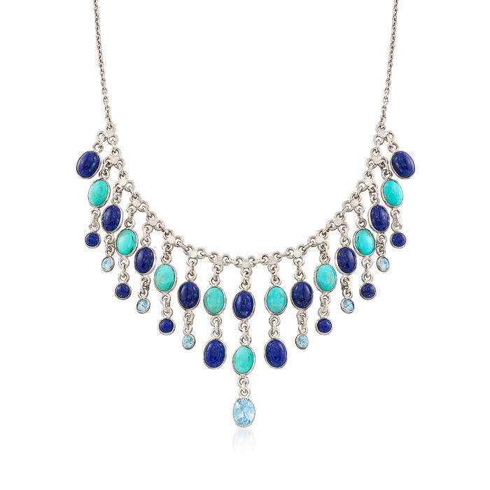 """Lapis and Turquoise Necklace With 3.00 ct. t.w. Blue Topaz in Sterling Silver. 18"""", , default"""