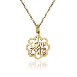 14kt Yellow Gold I Love Cats Pendant Necklace, , default