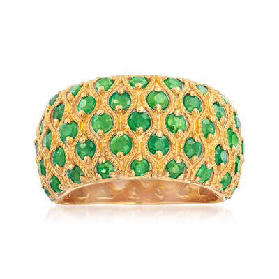 3.00 ct. t.w. Emerald Multi-Row Ring in 18kt Gold Over Sterling
