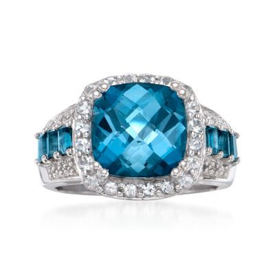 5.25 ct. t.w. London Blue Topaz Ring with .10 ct. t.w. Diamonds in Sterling Silver, , default
