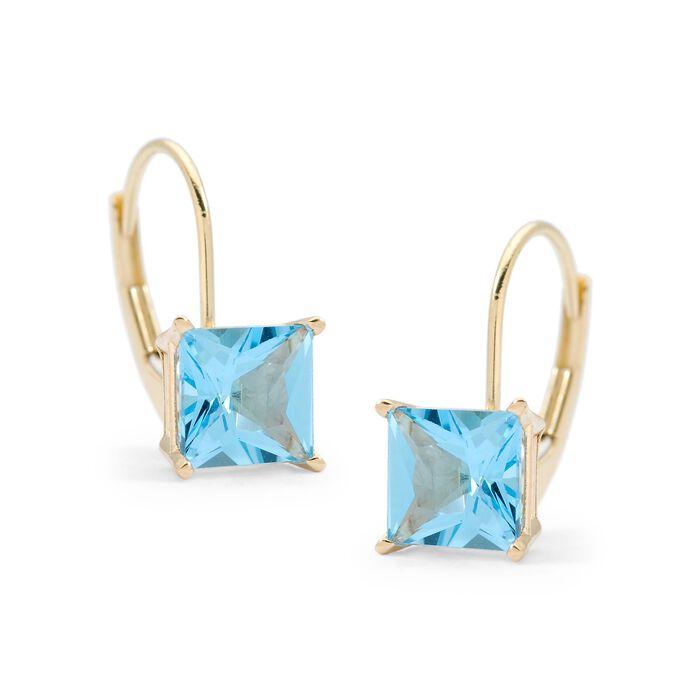 2.80 ct. t.w. Blue Topaz Earrings in 14kt Yellow Gold