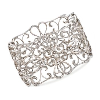 "C. 2000 Vintage 3.00 ct. t.w. Diamond Openwork Floral Bangle Bracelet in 14kt White Gold. 7"", , default"
