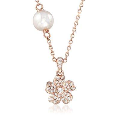 "Mikimoto ""Cherry Blossom"" 5.5mm A+ Akoya Pearl and .13 ct. t.w. Diamond Floral Necklace in 18kt Rose Gold, , default"