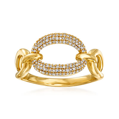 .19 ct. t.w. Diamond Oval-Link Ring in 14kt Yellow Gold