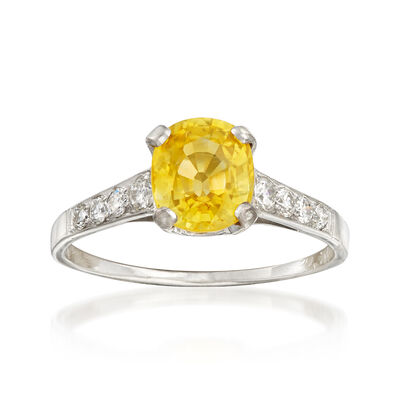 C. 1960 Vintage 1.88 Carat Yellow Sapphire and .25 ct. t.w. Diamond Ring in Platinum, , default