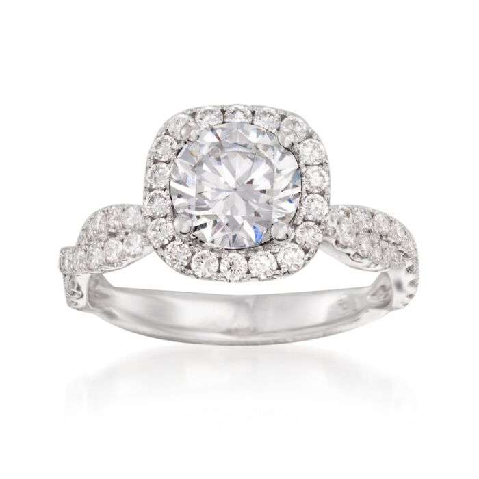 .80 ct. t.w. Diamond Crisscross Halo Engagement Ring Setting in 14kt White Gold, , default