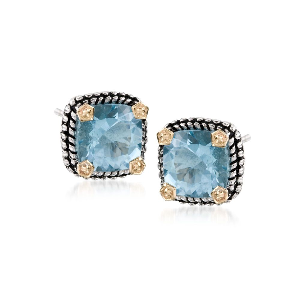 T W Blue Topaz Stud Earrings In Sterling Silver And 14kt Yellow Gold