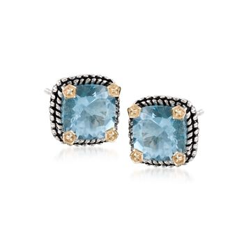 4.90 ct. t.w. Blue Topaz Stud Earrings in Sterling Silver and 14kt Yellow Gold, , default