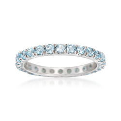 1.00 ct. t.w. Blue Topaz Eternity Band in 14kt White Gold. Size 5, , default