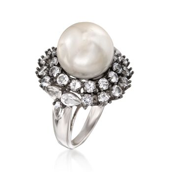 5.40 ct. t.w. White Topaz Halo Ring With Interchangeable Shell Pearls in Sterling Silver, , default