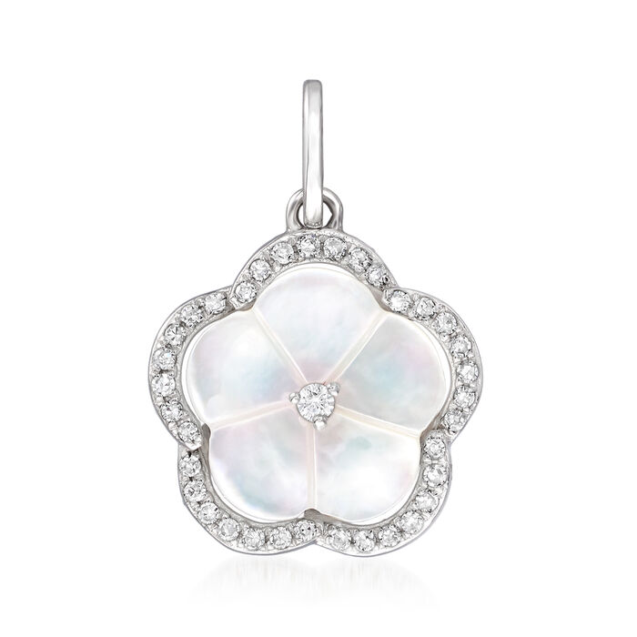 Mother-Of-Pearl and .10 ct. t.w. Diamond Flower Pendant in 14kt White Gold, , default