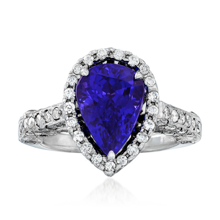 3.60 Carat Tanzanite and 1.05 ct. t.w. Diamond Ring in 18kt White Gold