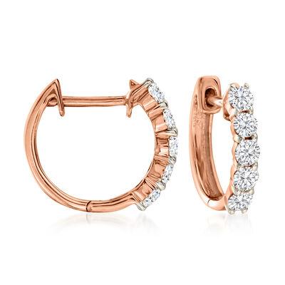 .50 ct. t.w. Diamond Huggie Hoop Earrings in 14kt Rose Gold