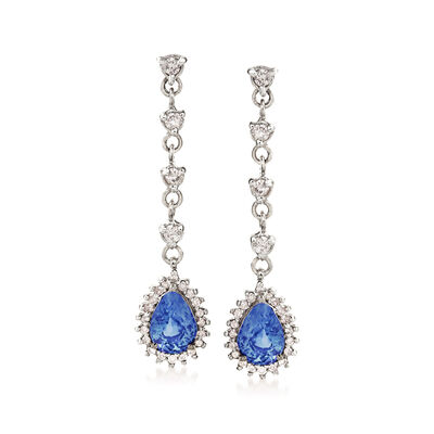 1.70 ct. t.w. Sapphire and .48 ct. t.w. Diamond Drop Earrings in 14kt White Gold, , default