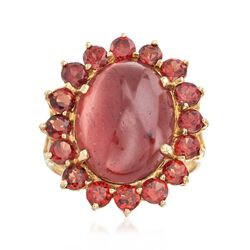 8.25 ct. t.w. Garnet Flower Ring in 14kt Yellow Gold, , default