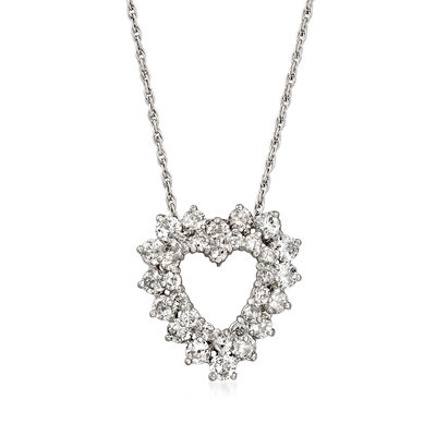 C. 1980 Vintage 2.75 ct. t.w. Diamond Heart Necklace in 18kt White Gold, , default