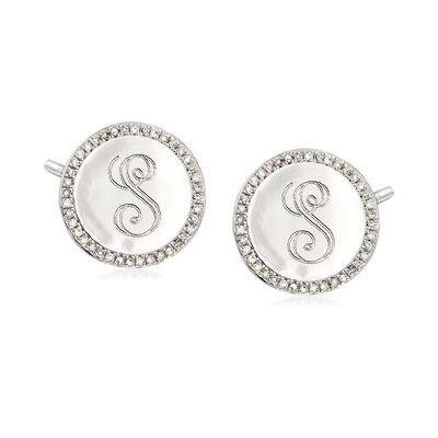 .20 ct. t.w. Diamond Single Initial Disc Earrings in Sterling Silver, , default