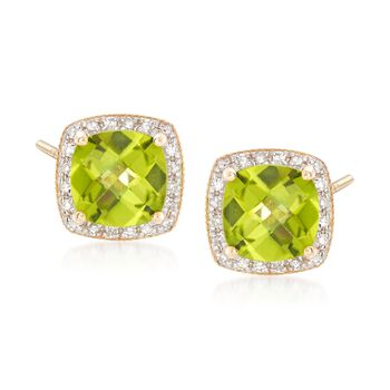 3.25 ct. t.w. Peridot and .10 ct. t.w. Pave Diamond Stud Earrings in 14kt Yellow Gold, , default