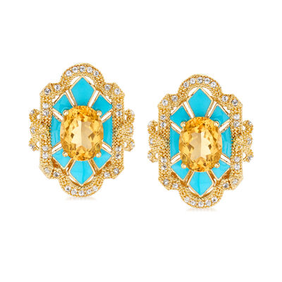 3.60 ct. t.w. Citrine and .40 ct. t.w. White Topaz Earrings with Blue Enamel in 18kt Gold Over Sterling, , default