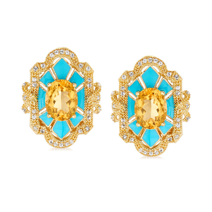 3.60 ct. t.w. Citrine and .40 ct. t.w. White Topaz Earrings with Blue Enamel in 18kt Gold Over Sterling