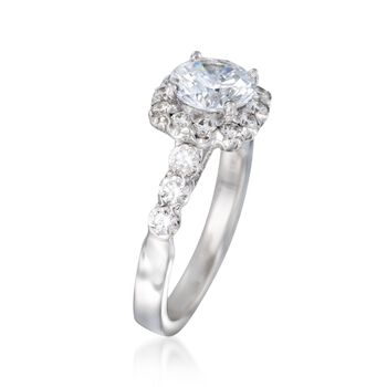 .91 ct. t.w. Diamond Halo Engagement Ring Setting in 14kt White Gold, , default