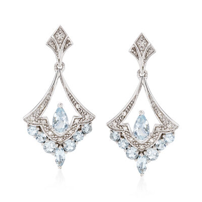 .80 ct. t.w. Aquamarine Chandelier Earrings with Diamonds in Sterling Silver