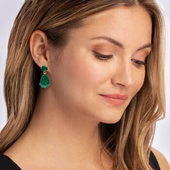 19.20 ct. t.w. Emerald Drop Earrings in Sterling Silver