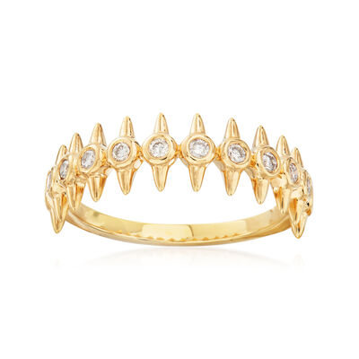 .25 ct. t.w. Diamond Spike Ring in 18kt Gold Over Sterling