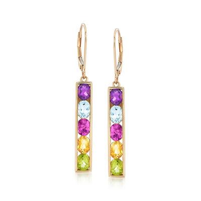 3.90 ct. t.w. Multi-Stone Linear Earrings in 14kt Yellow Gold, , default