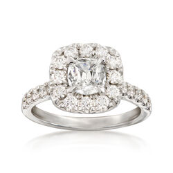 Henri Daussi 1.81 ct. t.w. Diamond Halo Ring in 18kt White Gold, , default