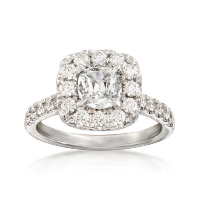 Henri Daussi 1.81 ct. t.w. Diamond Halo Ring in 18kt White Gold, , default