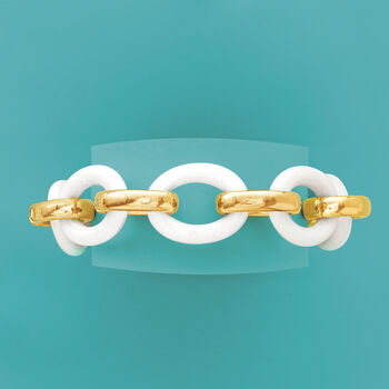 Andiamo 14kt Yellow Gold and White Agate Bracelet with Magnetic Clasp. 7.5""