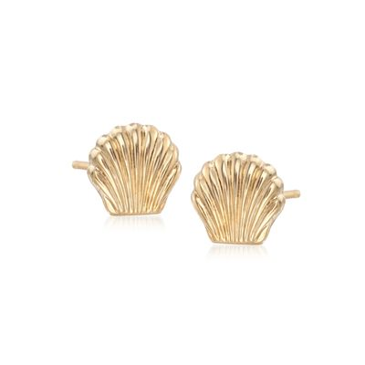 14kt Yellow Gold Seashell Stud Earrings, , default