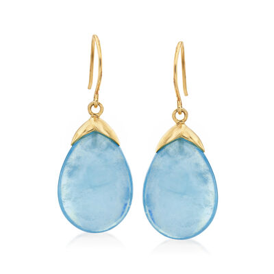 19.50 ct. t.w. Aquamarine Drop Earrings in 14kt Yellow Gold