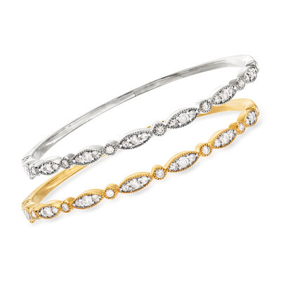2.60 ct. t.w. Diamond Jewelry Set: Two Bangle Bracelets in Sterling Silver and 18kt Gold Over Sterling